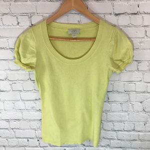 Loft Short Sleeve Scoop Neck Yellow Sweater